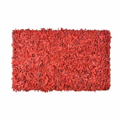 Homescapes Dallas Leather Shaggy Rug Red, 90 x 150 cm