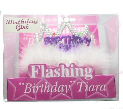 Birthday Girl Flashing Tiara with White Fur Trim Party Accessory