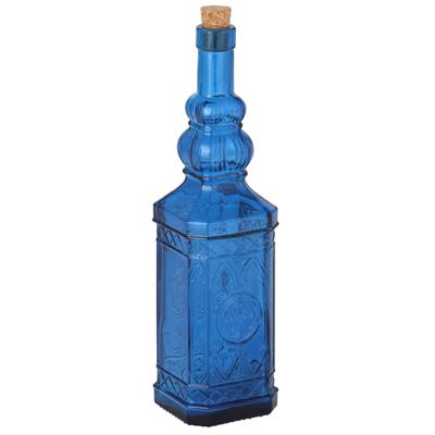 Prussian Blue Recycled Glass Moroccan Bottle
