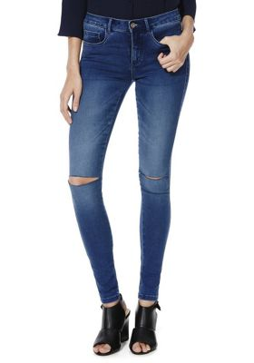 Only High-Performance Ripped Knee Stretch Skinny Jeans XS (04) 34 Leg Mid wash