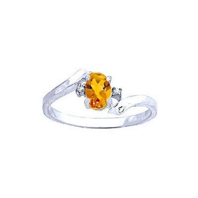 QP Jewellers Diamond & Citrine Embrace Ring in 14K White Gold - Size Q