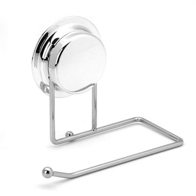 Bathroom Toilet Roll Paper Holder With Strong Vacuum Suction Cup - Silver
