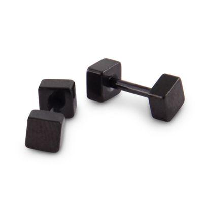 Urban Male Men's Black Stainless Steel 4mm Square Stud Earrings