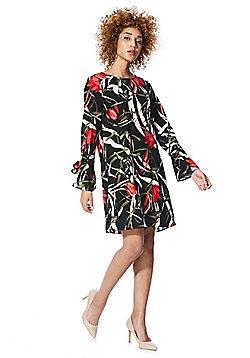 Vero Moda Paint Print Tie Sleeve Dress - Black multi
