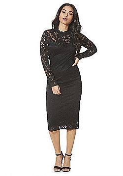 Vila High Neck Lace Midi Dress - Black