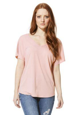 F&F Modal Rich V-Neck T-Shirt 10 Blush pink