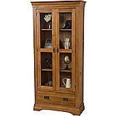 French Chateau Rustic Solid Oak & Glass Display Cabinet