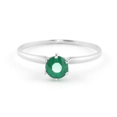QP Jewellers 0.65ct Emerald Crown Solitaire Ring in 14K White Gold - Size L 1/2