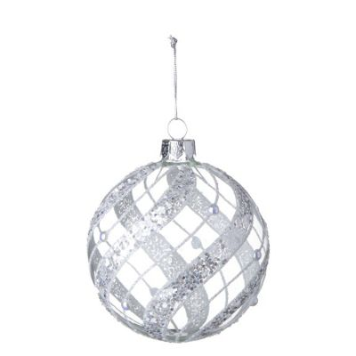 Clear Bauble With Silver Harlequin Design - Christmas Tree Decoration