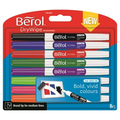 Berol Drywipe Pen Broad Tip Assorted 8 Pack