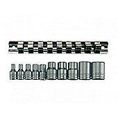 Teng M3814 11piece Clip Rail Tx-e Socket Set 3/8in & 1/4in Drive