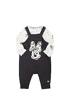 Disney Minnie Mouse Bodysuit and Dungaree Set - Cream & Grey