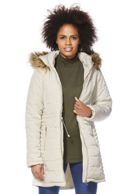 Vero Moda Faux Fur Hooded Padded Jacket S Cream