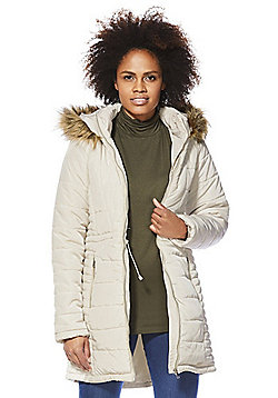 Vero Moda Faux Fur Hooded Puffer Jacket - Cream