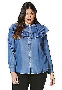 Simply Be Tencel ® Ruffle Detail Denim Shirt - Blue