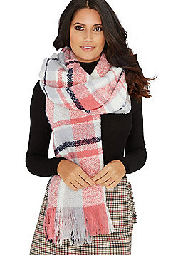 F&F Checked Blanket Scarf - Grey & Pink