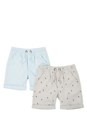 F&F 2 Pack of Palm Print and Plain Drawstring Shorts Grey/Blue 12-18 months
