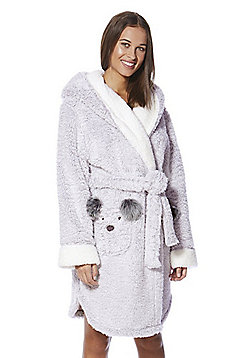 F&F Bear Face Pocket Fleece Dressing Gown - Grey