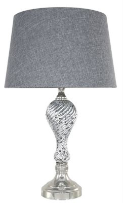 Silver Mercury Ripple Table Lamp With Grey Linen Empire