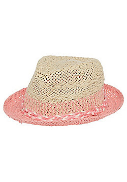 F&F Ombre Straw Trilby Hat - Pink multi