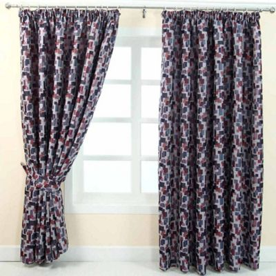 Homescapes Red and Blue Jacquard Curtain Abstract Design Fully Lined - 66
