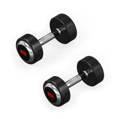 RoundFlex Olympic Round Rubber Dumbbells - 2x10KG