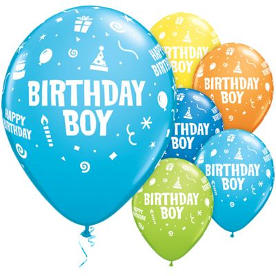 Birthday Boy Assortment 11 inch Latex Balloons - 25 Pack