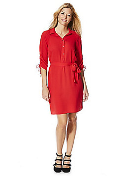 F&F Ruched Sleeve Shirt Dress - Red