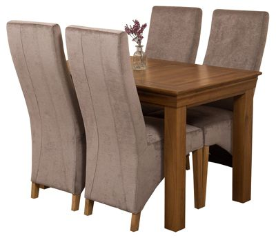 French Rustic 120cm Solid Oak Dining Set Table and 4 Grey Fabric Chairs