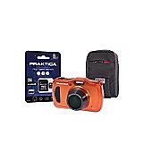 Praktica Luxmedia WP240 Waterproof Orange Camera Kit inc 8GB MicroSD Card & Case