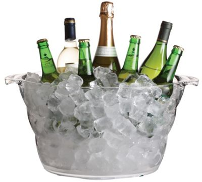 Bar Craft Clear Acrylic Large Oval Drinks Pail / Cooler
