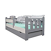 Stanley Toddler Bed Grey&White/Pocket Sprung Mattress/Quilted Topper-Drawer Grey