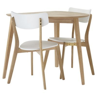 Charlie Table And 2 Chair Set, Oak Effect And White