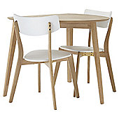 Charlie Table and 2 Chair Set, Oak-effect and White