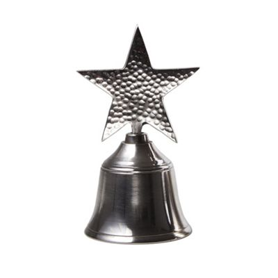 Silver Christmas Bell with Seasonal Star Handle