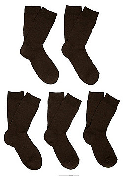 F&F 5 Pair Pack of Fresh Feel Socks - Brown