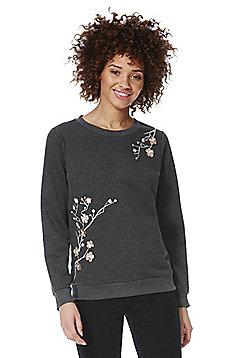 Vero Moda Floral Embroidered Sweatshirt - Grey
