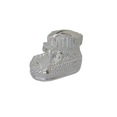 Silver Plated Knitted Bootee Money Box