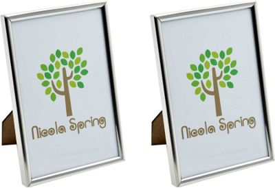 Nicola Spring Silver Metal 4x6 Photo Frame - Standing - Pack Of 2