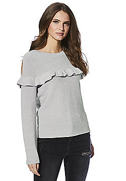 Red Velvet Gillian Frill Detail Metallic Jumper - Silver