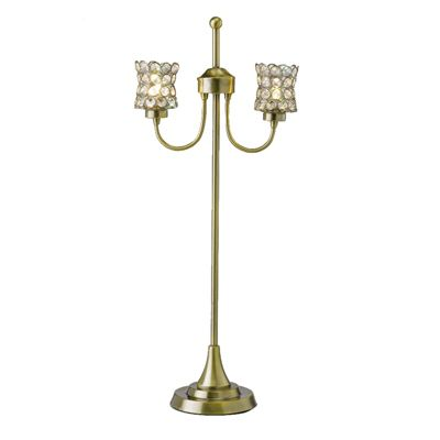 Nelson Table Lamp 2 Light Antique Brass/Crystal