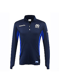 Macron Scotland Rugby SRU M16 Performance Softshell 1/4 Zip Top - Navy