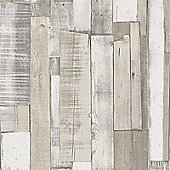 Rasch Wood Board Panel Wallpaper - White 203714