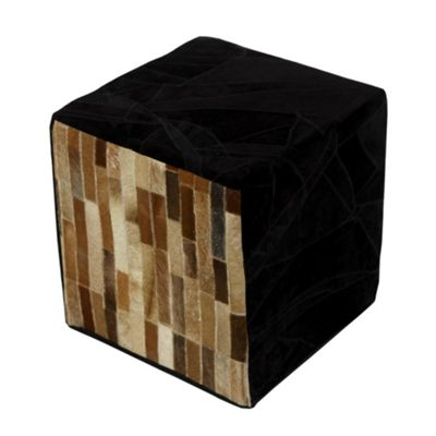 Homescapes Leather Suede Cube Pouffe Brown and Black Tiles, 36 x 36 x 38 cm