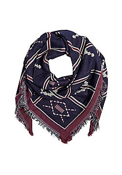 Pieces Tile Pattern Frayed Ends Square Scarf - Navy & Red