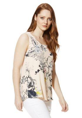 Vero Moda Floral Split Back Sleeveless Top S Pink