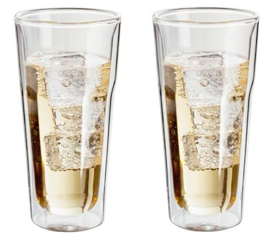 Judge Borosilicate Glass Double Walled Heat Resistant Glass Hiball Glasses Set of 2 350ml