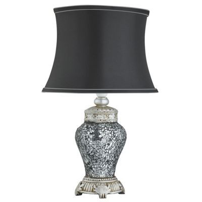 Stunning Antique Mosaic Table Lamp Black Concave Fabric Shade