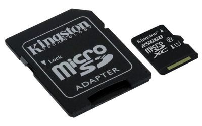 Kingston Canvas Select 256GB microSD Memory Card with SD Adapter