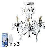 MiniSun Odelia Semi Flush LED 3 Way Chandelier Ceiling Light